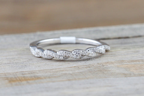 14k White Gold Diamond Pave Twist Curve Polished Stackable Ring Band Wedding