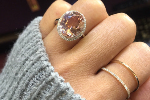 Oval Morganite Halo Ring 12x10mm M3067