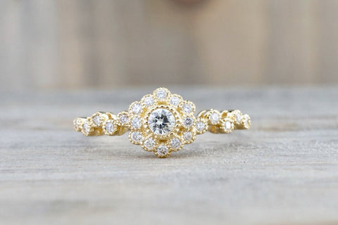 Vermont 14K Yellow Gold Classic Diamond Engagement Wedding Promise Vintage Classic Cute Ring Band Arch Shaped
