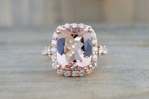 5.10 carats 14k Rose Gold Halo Cushion Morganite Peach Champagne Beige Diamond Halo Engagement Ring Vintage