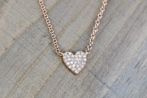 14k Rose Gold Heart Diamond Micro Pave Pendant Charm Multiple Length Chain