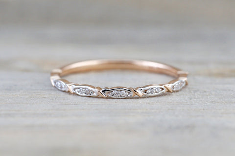 14k Rose Gold Round Cut Diamond Engagement Pave Stackable Stacking Promise Ring Anniversary Fashion Dainty Thin