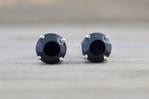 14k Solid White Gold Black Onyx Earring Studs Post Push Back Square