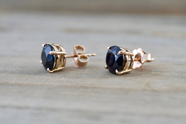 14k Solid Rose Gold Black Onyx Earring Studs Post Push Back Square
