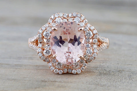 14k Rose Gold Oval Morganite Diamond Double Halo Engagement Ring Vintage Crown Dainty