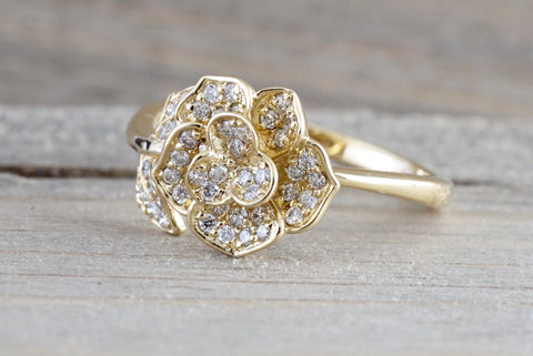 14kt Yellow Gold Diamond Flower Petal Floral Band Promise Ring Anniversary