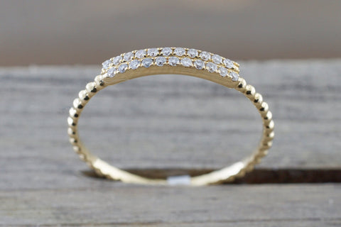 Double Row Diamond Bead Band