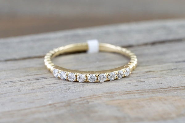 14 Karat Yellow Gold Dainty Round Cut Diamond Bead Band Wedding Anniversary Love Ring
