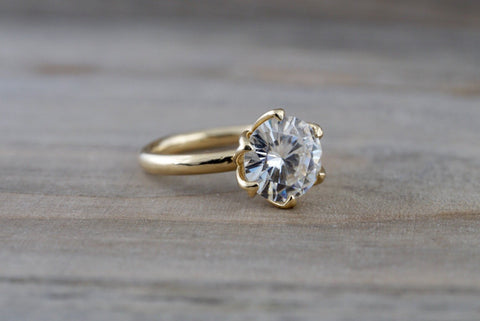 Custom Order/ Payment Plan 7.5mm Solitaire 14k Yellow Gold Round Forever Brilliant Moissanite Engagement Promise Ring Charles & Colvard