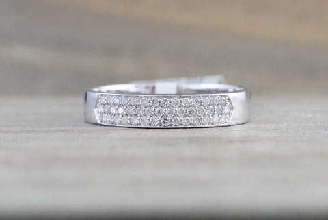18k White Gold Pave Flat Band Stackable 3.2mm