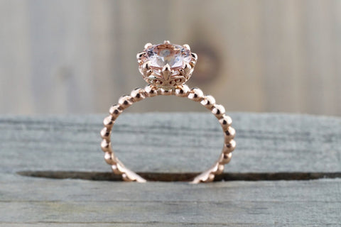 BelAir 14k Rose Gold Round 7mm Morganite Pinkish Engagement Ring Crown Vintage Design Diamonds