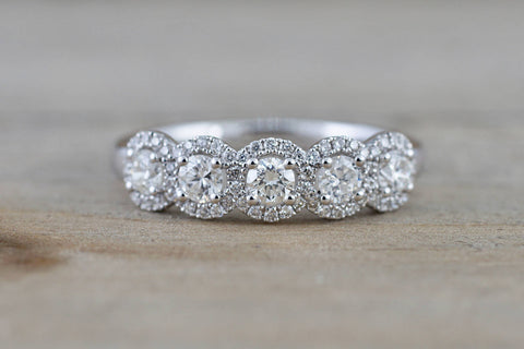 PAYMENT PLAN 18k White Gold Diamond  Anniversary Halo Vintage Ring Antique Half Eternity Filigree Dainty Band 5