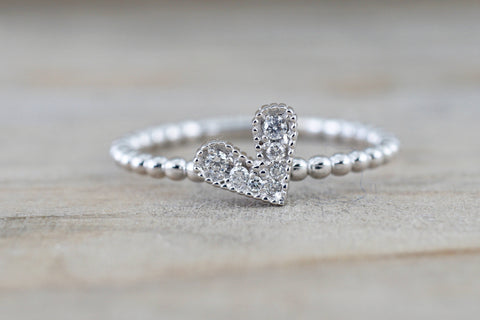 14k White Gold Dainty Heart Ring With Round Cut Diamonds Bead Design Promise Ring Anniversary Band Vines Filigree Milgrain Etching