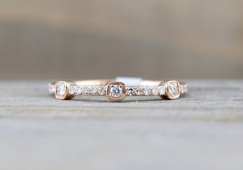 Square Shape and Round Diamond Band