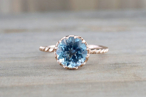 Melrose 7mm 14k Rose Gold Round Blue Topaz Engagement Ring Crown Vintage Design Rope Classic November Birthstone