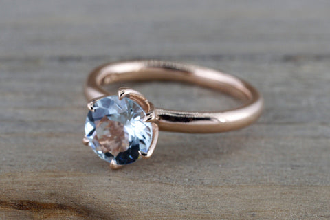 14k Rose Gold Round Aquamarine Tulip Crown Solitaire 6 Prong Ring 7mm Engagement Wedding Anniversary Ring Band