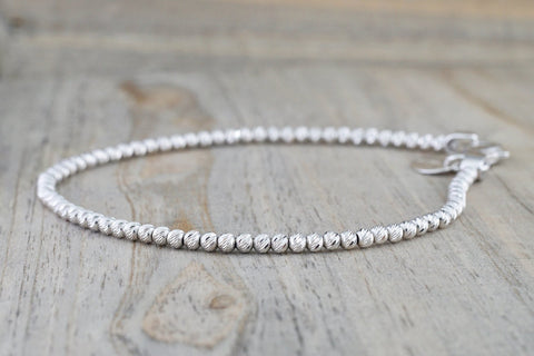 14k White Gold Bead Ball Diamond Cut Bracelet Dainty Love Gift Fashion