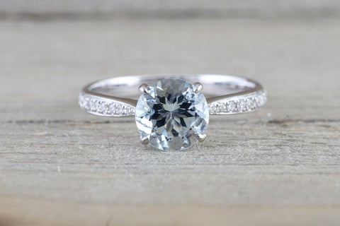 18k White Gold Round Cut Aquamarine Vintage Filigree Engagement Promise Ring Rope