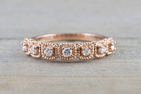 14k Rose Gold Garnet Cushion Rope Halo Anniversary Promise Band Ring