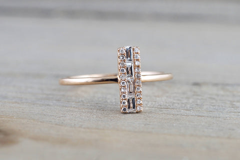 14k Rose Gold Fashion Baguette Diamond Straight Band Ring