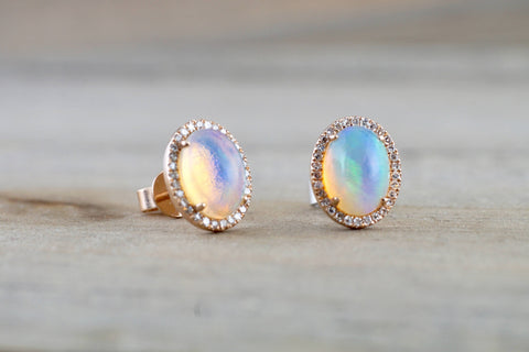 14k Rose Gold Oval Diamond Halo Opal Earring Studs Earrings