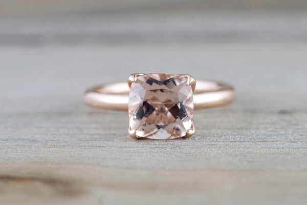 14k Rose Gold Cushion Morganite Peach Pink Classic lotus flower petal Solitaire Engagement Wedding Ring Design