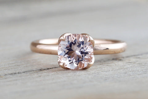 14k Rose Gold Round Morganite Pink Classic flower petal Solitaire Engagement Ring