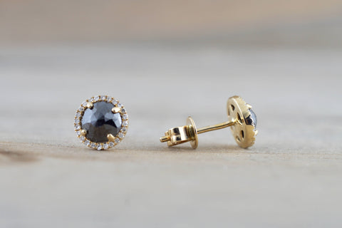 Rose Cut Black Diamond Halo Studs