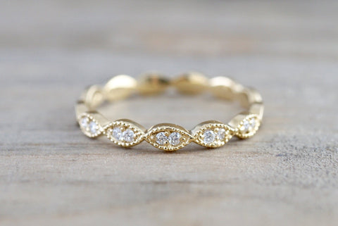 14k Yellow Gold Diamond Vintage Milgrain Etch Etching Ring Antique Half Eternity Filigree Dainty Band