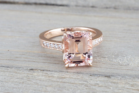 14k Rose Gold Elongated Emerald Cut Pink Morganite Diamond Engagement
