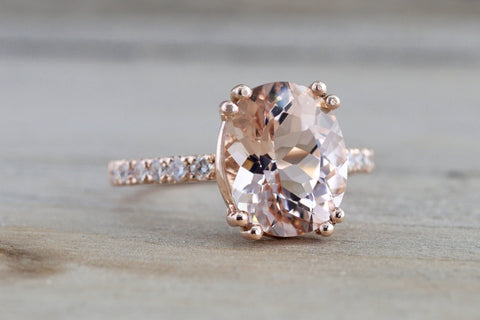 14k Rose Gold Elongated Oval Cut Pink Morganite Diamond Engagement Ring