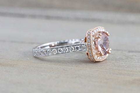 8mm 14k Rose and White Gold Cushion Halo with Round Pink Peach Morganite Engagement Promise Ring Rope Bead Vintage