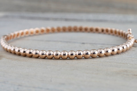 14k Solid Rose Gold Thick Bead Dot Charm Bracelet Dainty Love Oval Fashion Bangle 3.2mm Open