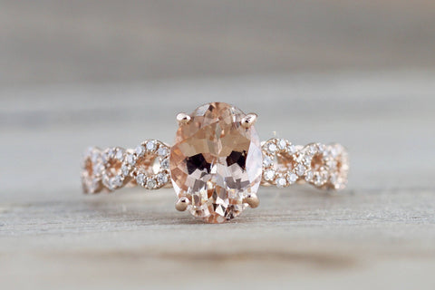 14k Rose Gold Elongated Oval Cut Morganite Diamond Infinity Twist Engagement Ring
