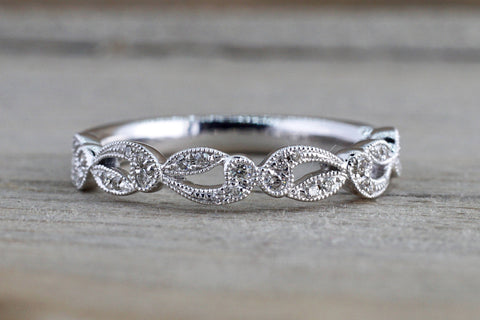 14k White Gold Diamond Milgrain Etched Floral Vintage Pave Ring