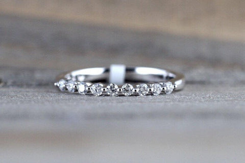 14k White Gold Thin Diamond Vintage Ring Antique Half Dainty Band Single Prong