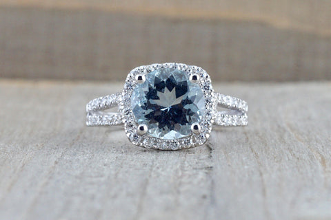 18k White Gold Cushion Halo Round Aquamarine Split Shank Engagement Ring