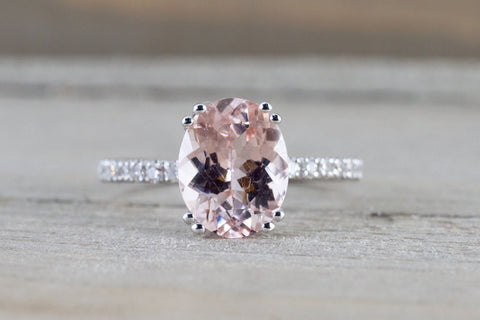 14k White Gold Diamond Band Oval Morganite Solitaire Double Prong Engagement Ring Love