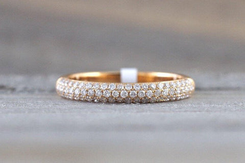 18k Rose Gold Diamond Micro Pave Dome Band Ring B10072