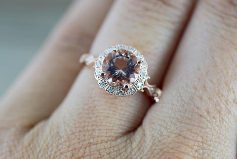 14k Rose Gold Vintage Diamond 7mm Morganite Engagement Promise Ring Rope Bead Vintage Art Deco