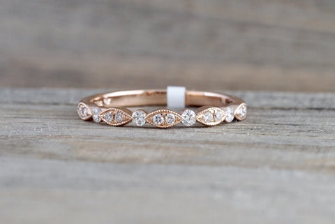14k Rose Gold Diamond Vintage Milgrain Bezel Band Ring Wedding