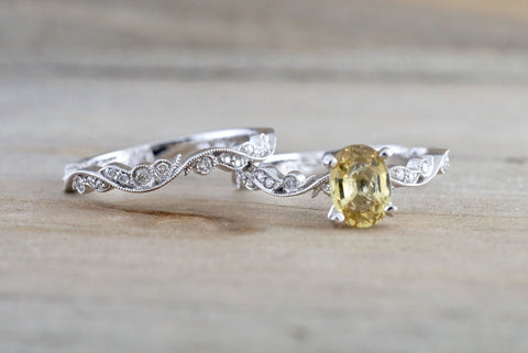 Yellow Sapphire Floral Wedding Set