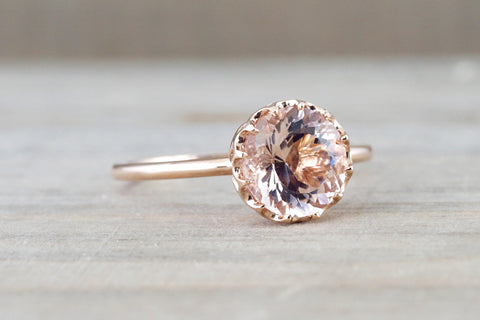 7mm Melrose Smooth 14k Rose Gold Round Morganite Pink Peach Champagne Beige Diamond Halo Engagement Ring Crown Vintage Solitaire