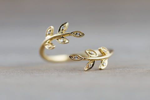 18k Yellow Gold Diamond Leaf Floral Flower Petal Open Fashion Ring