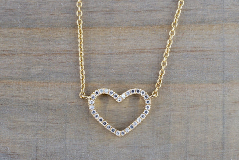 14k Yellow Gold Heart Micro Pave Diamond Dainty Pendant Charm With Necklace