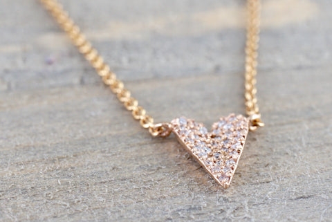 14k Rose Gold Heart Micro Pave Diamond Invisible Dainty Pendant Charm