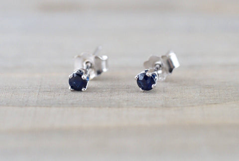 14k Solid White Gold with Blue Sapphire Gemstone Earring Studs Post Push Back Square September Birthstone
