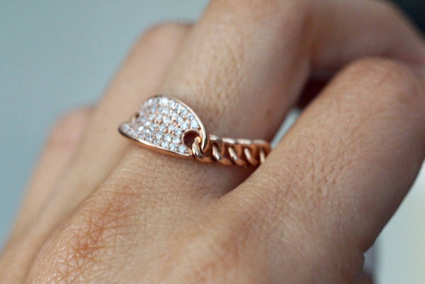 14 Karat Rose Gold Dog Tag Oval Pave Diamond Chain Link Ring