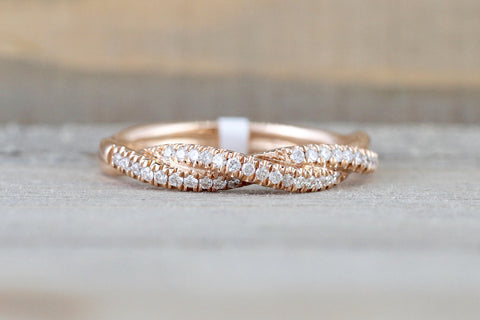 14k Rose Gold Solid Dainty Diamond Rope Design Band Wedding Anniversary Love Ring Band Vintage Thin