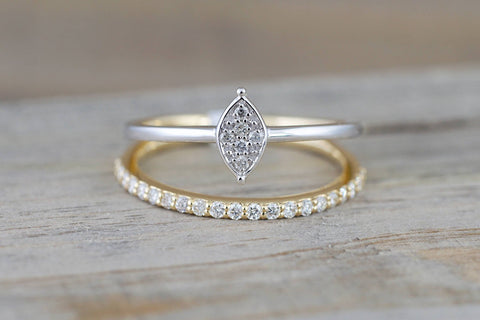 18k Yellow Gold Double Band Diamond Ring And Marquis Cluster In Rhodium Antique Half Eternity Filigree Dainty Band